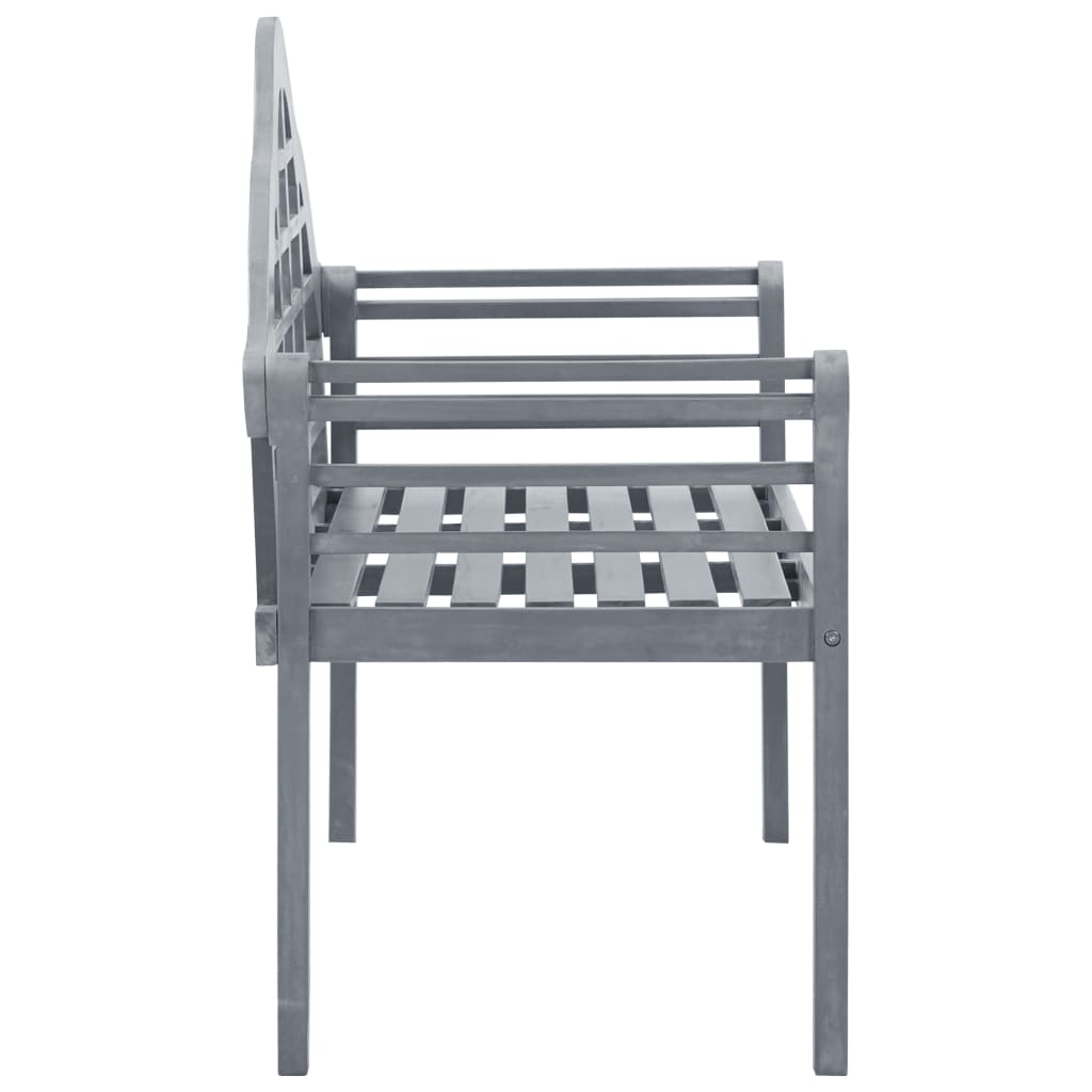 Garden Bench Grey Wash 135 cm Solid Acacia Wood 3