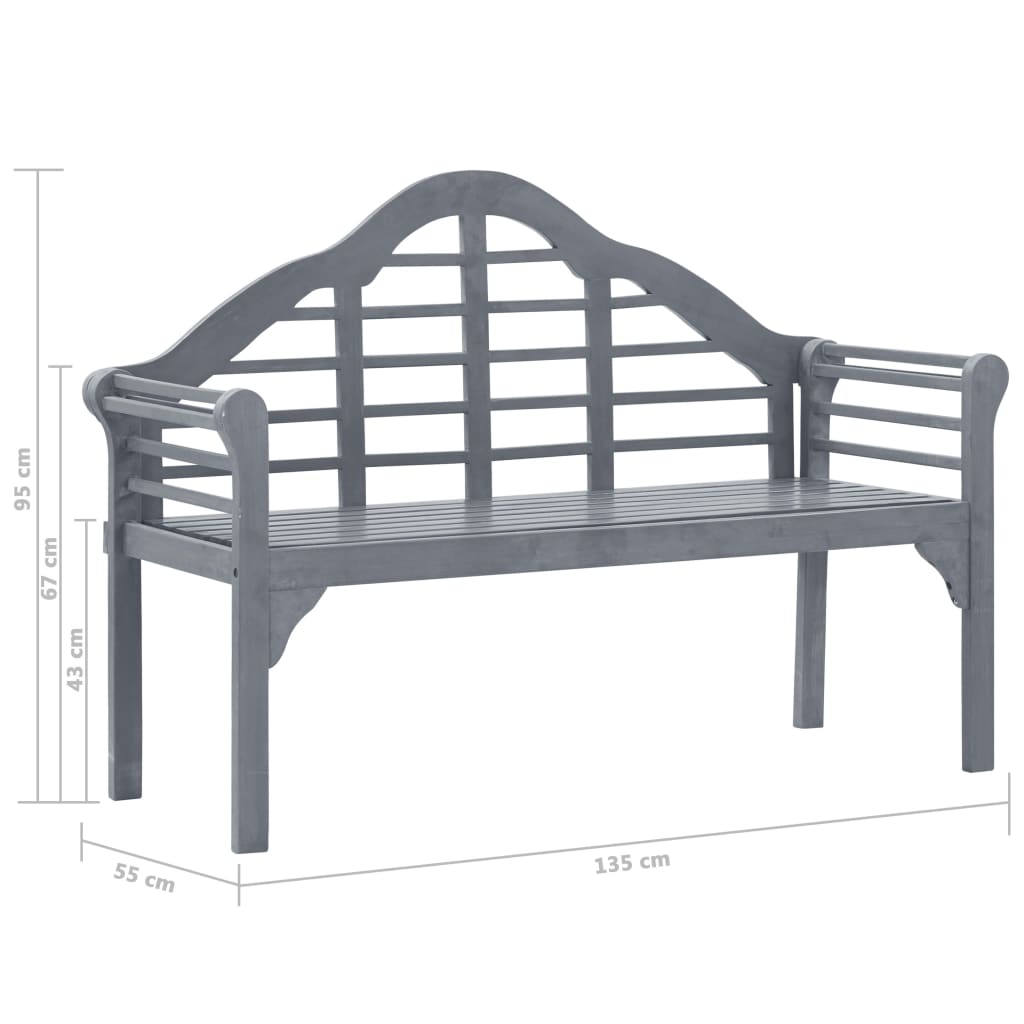Garden Bench Grey Wash 135 cm Solid Acacia Wood 7