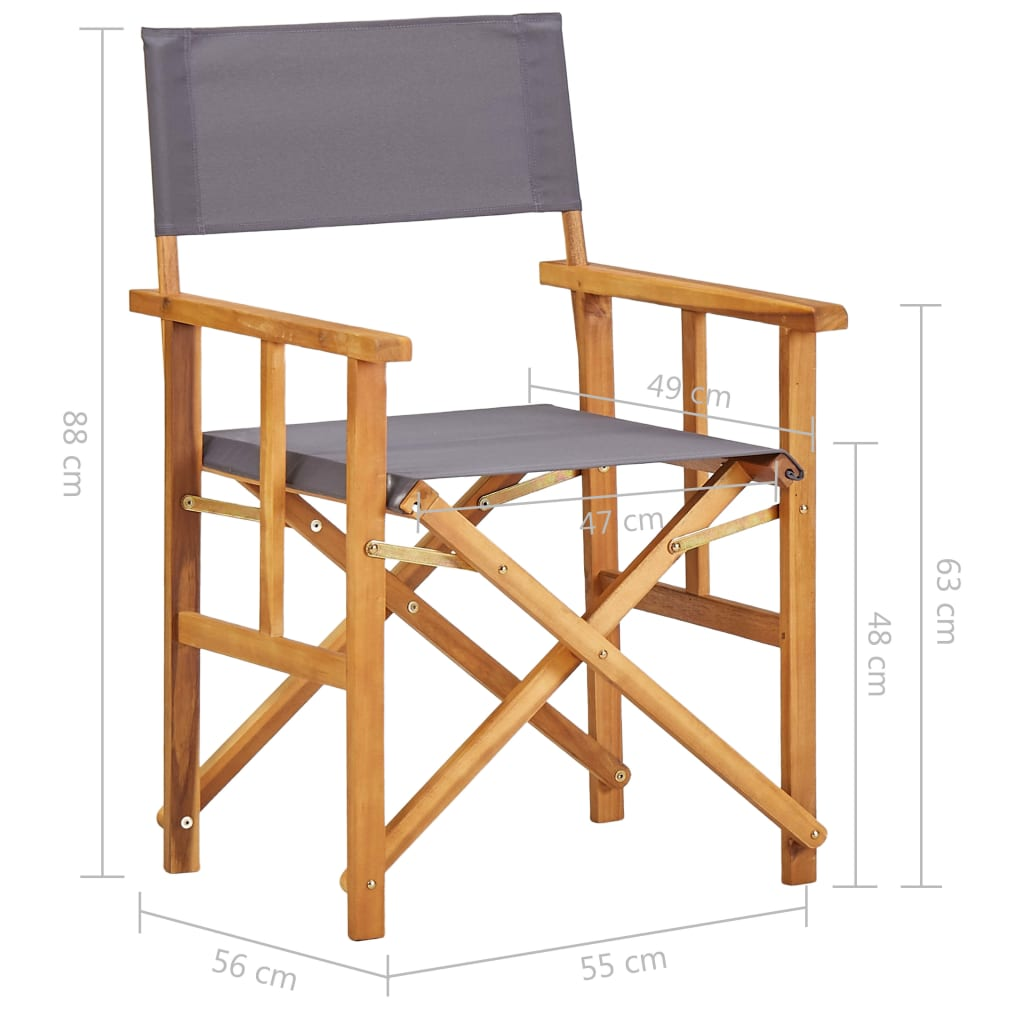 Director's Chairs 2 pcs Solid Acacia Wood 9