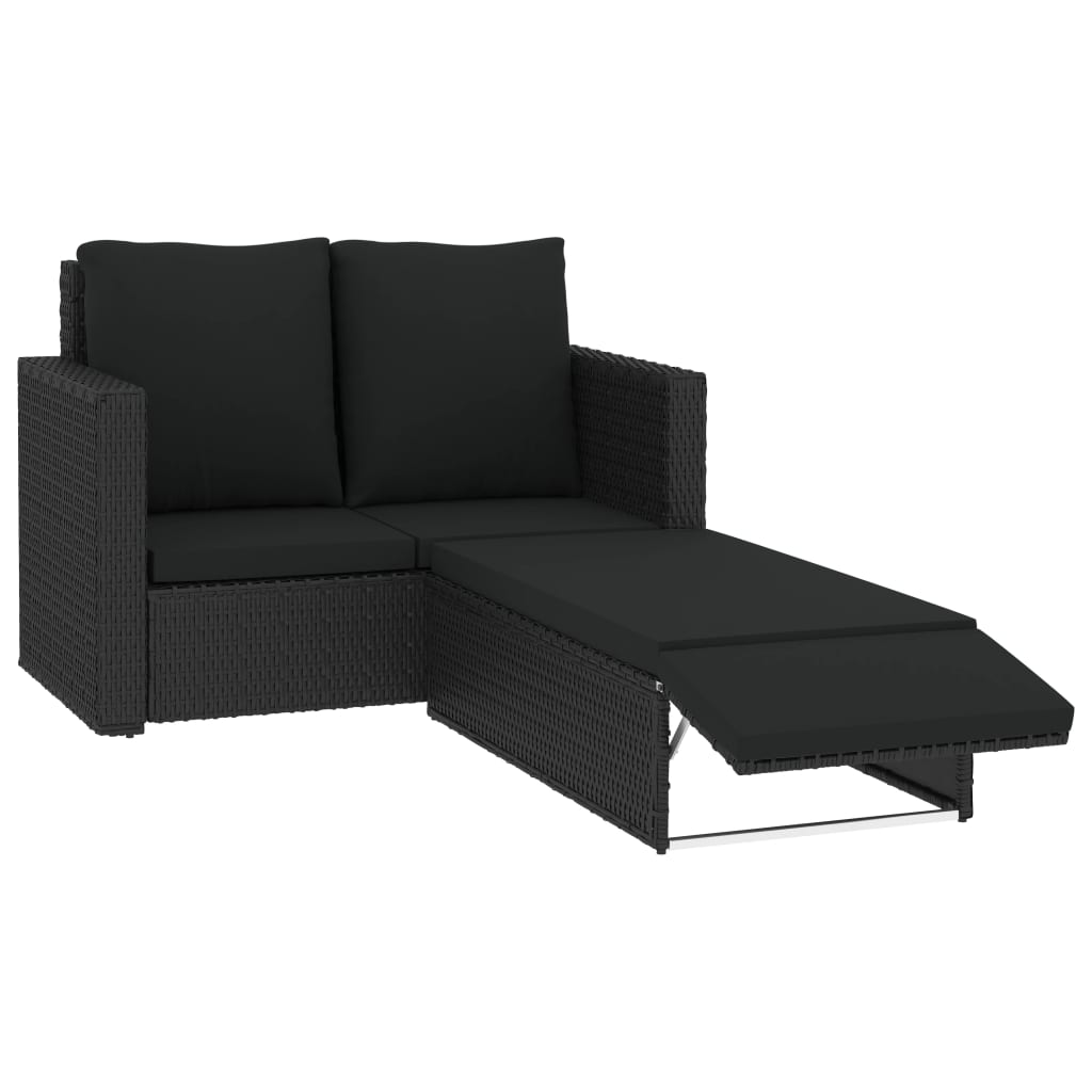 2 Piece Garden Lounge Set with Cushions Poly Rattan Black 2