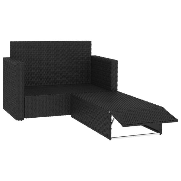 2 Piece Garden Lounge Set with Cushions Poly Rattan Black 3
