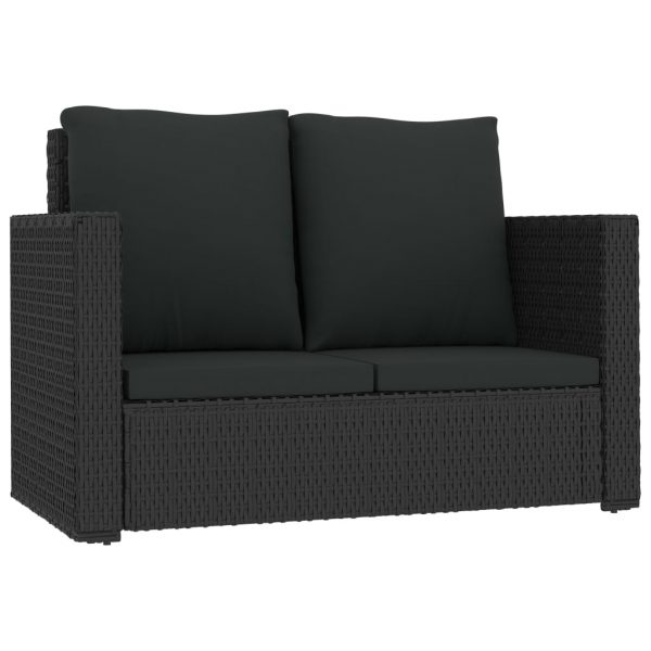 2 Piece Garden Lounge Set with Cushions Poly Rattan Black 4