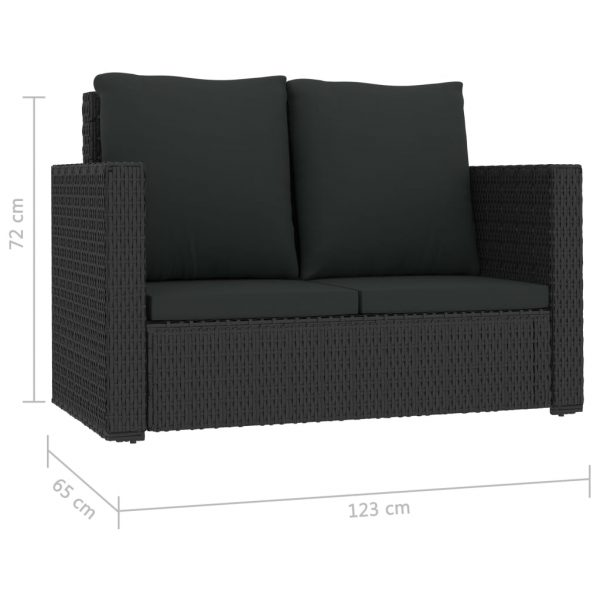 2 Piece Garden Lounge Set with Cushions Poly Rattan Black 7