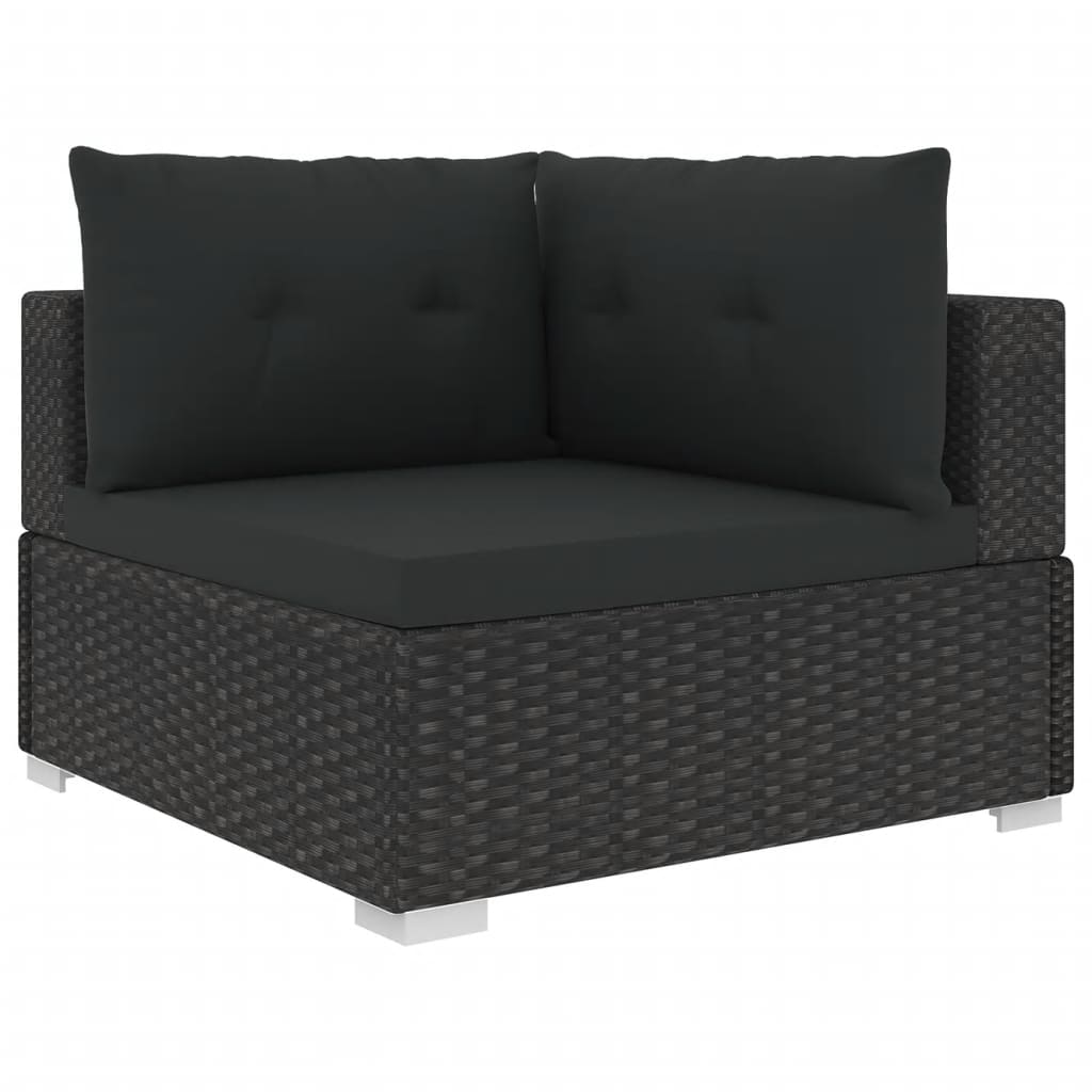 10 Piece Garden Lounge Set with Cushions Poly Rattan Black 4