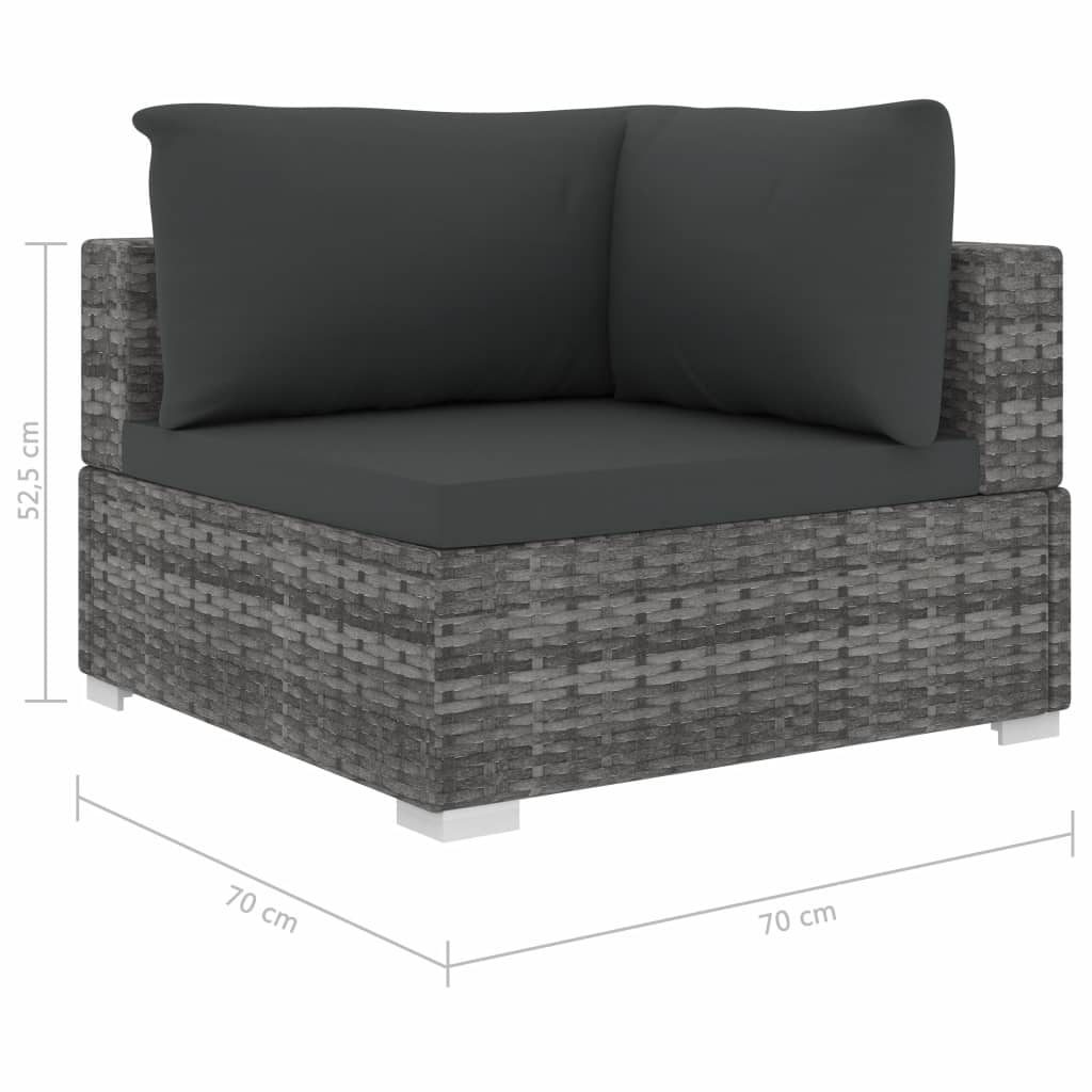 6 Piece Garden Lounge Set with Cushions Poly Rattan Grey 7