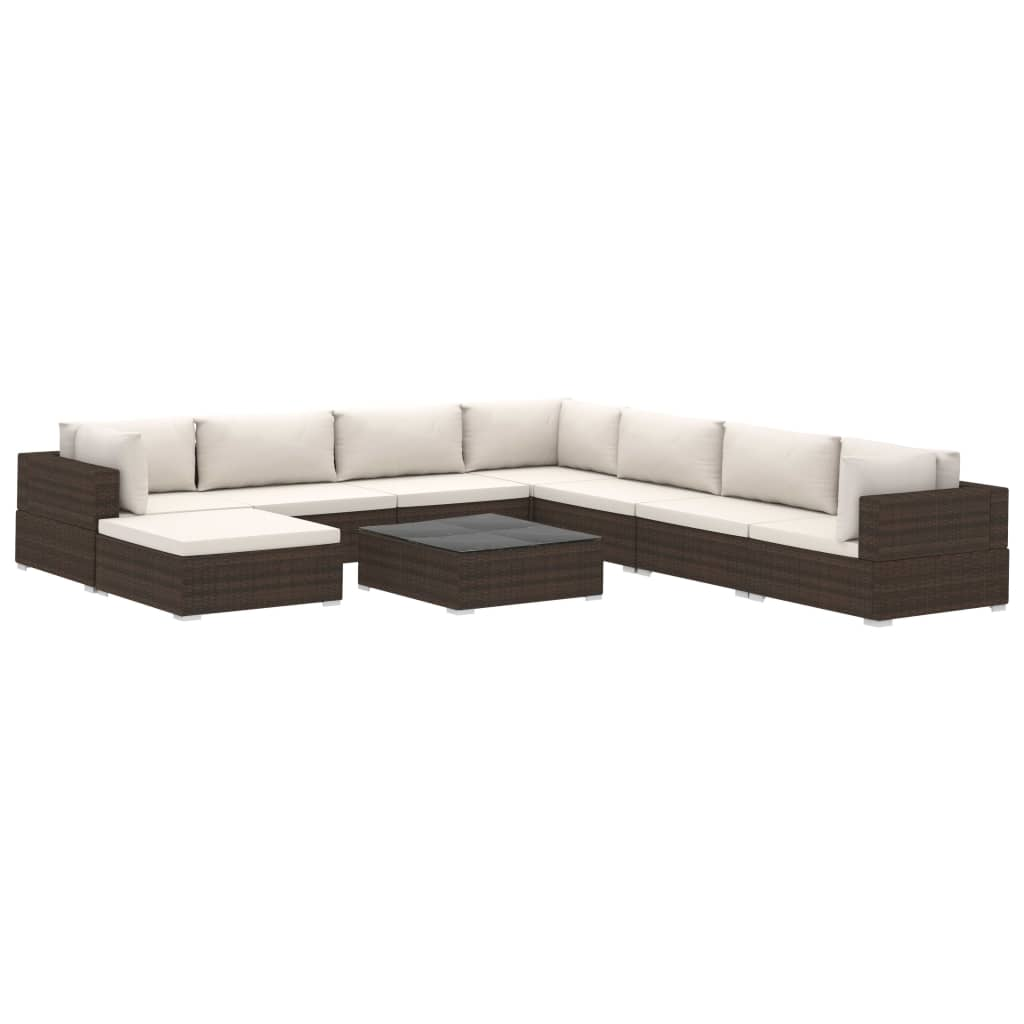 9 Piece Garden Lounge Set with Cushions Poly Rattan Brown 2