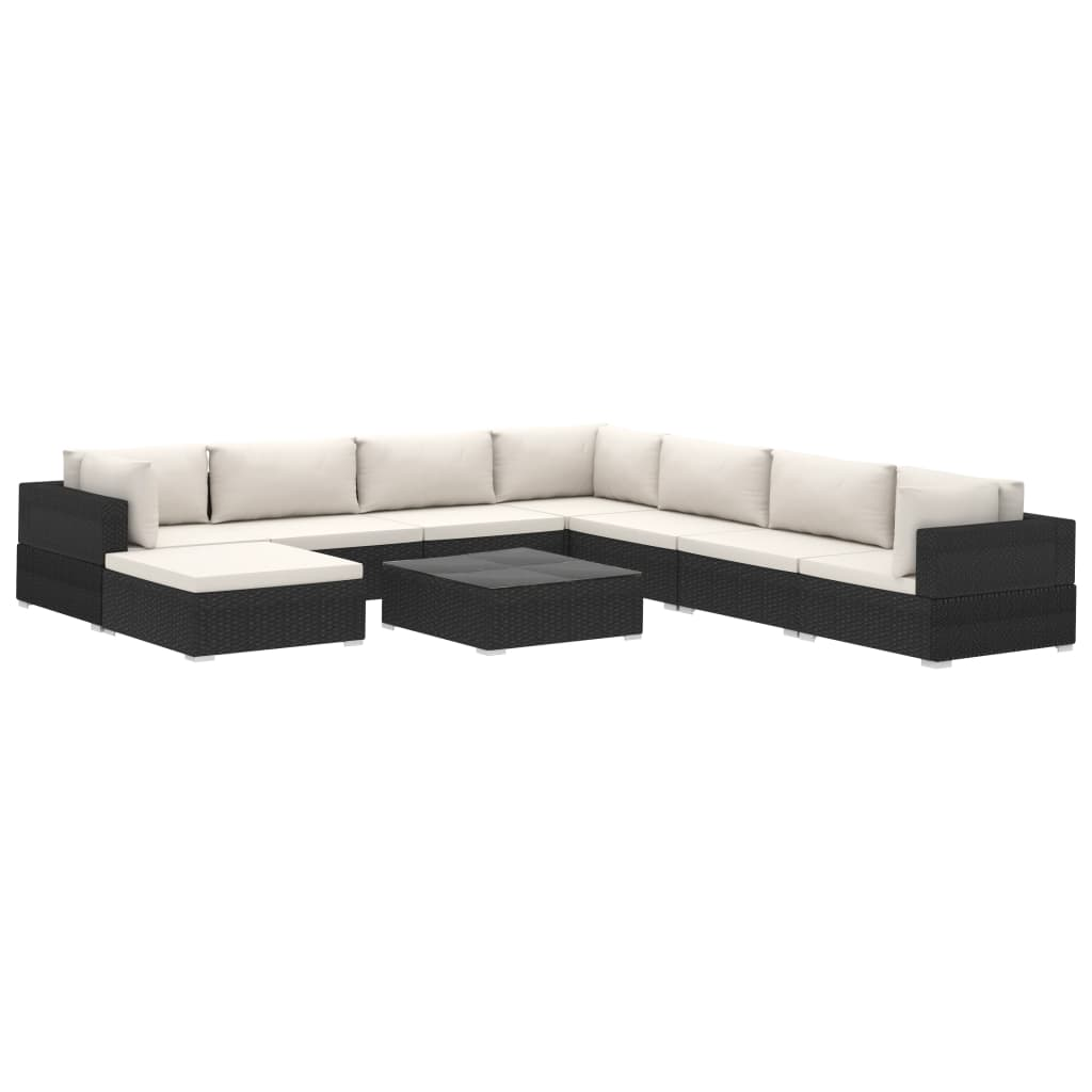 9 Piece Garden Lounge Set with Cushions Poly Rattan Black 2