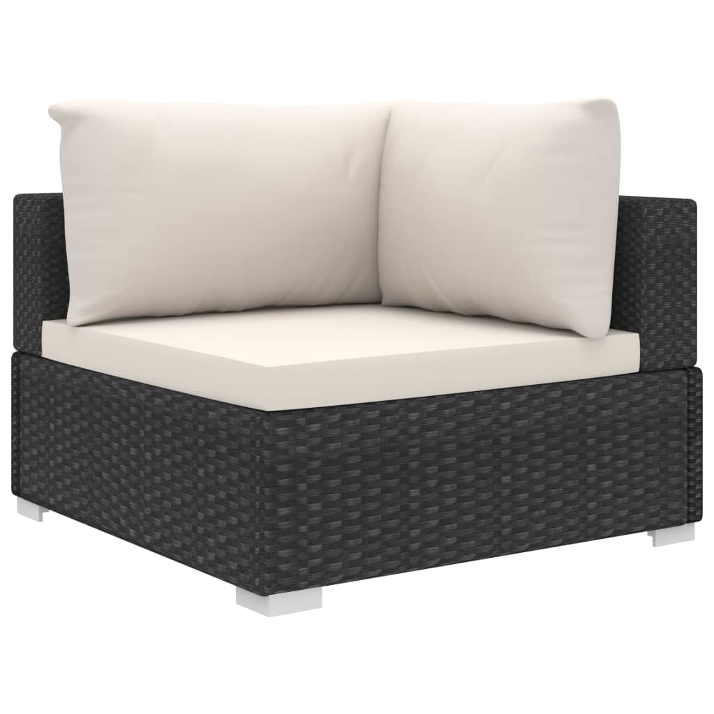9 Piece Garden Lounge Set with Cushions Poly Rattan Black 4