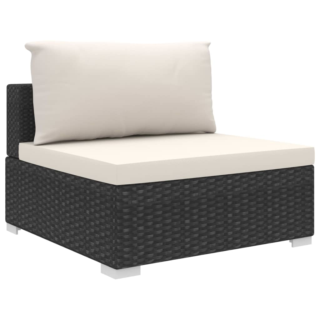 9 Piece Garden Lounge Set with Cushions Poly Rattan Black 6