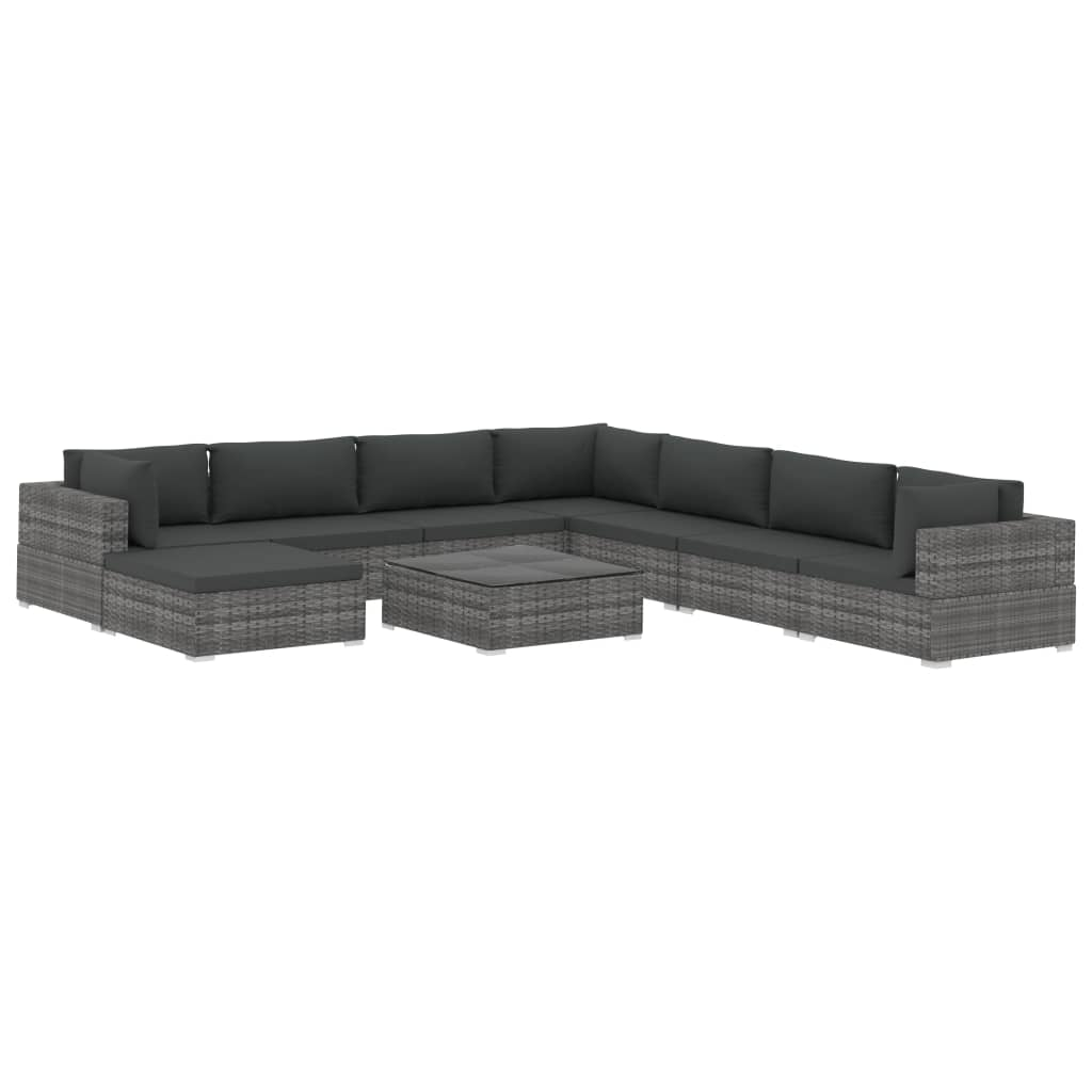 9 Piece Garden Lounge Set with Cushions Poly Rattan Grey 2