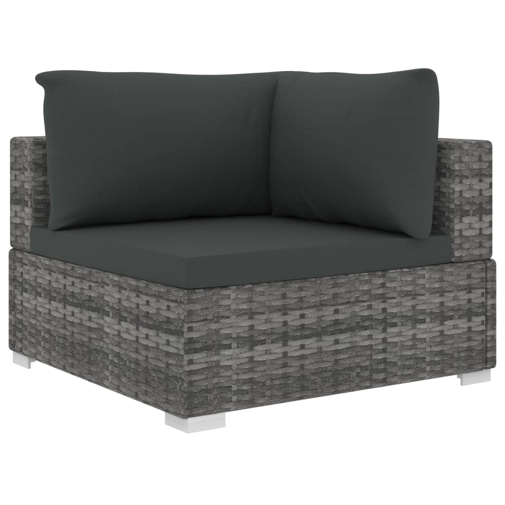 9 Piece Garden Lounge Set with Cushions Poly Rattan Grey 4