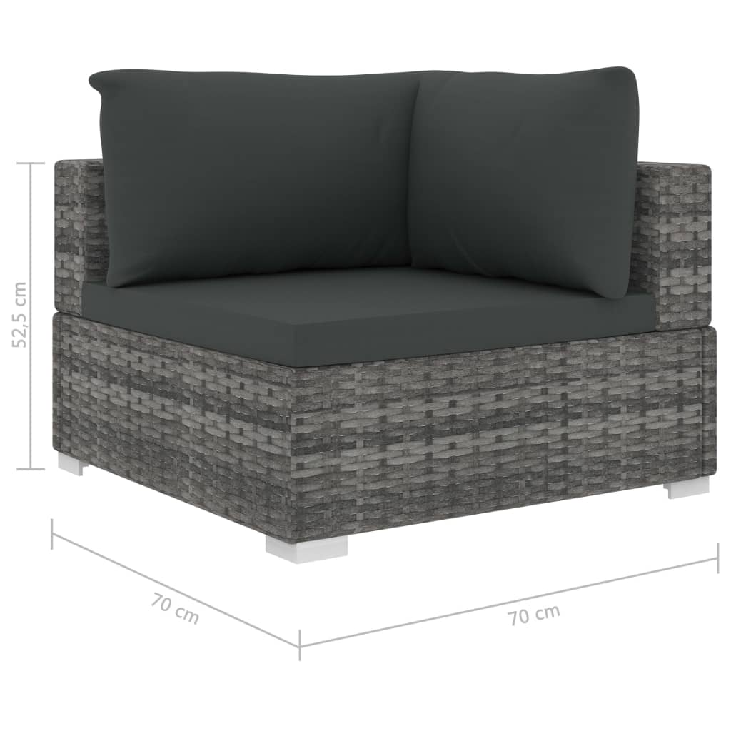 9 Piece Garden Lounge Set with Cushions Poly Rattan Grey 8