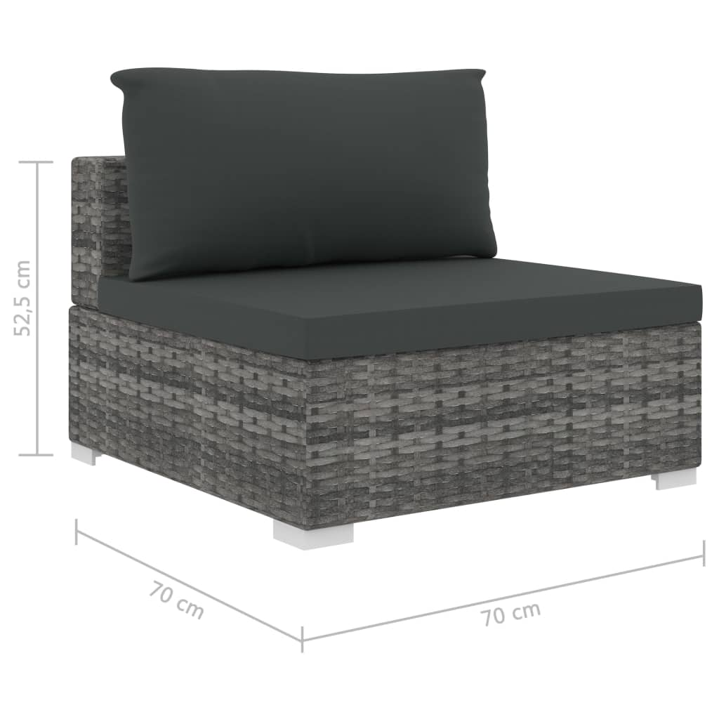 9 Piece Garden Lounge Set with Cushions Poly Rattan Grey 9