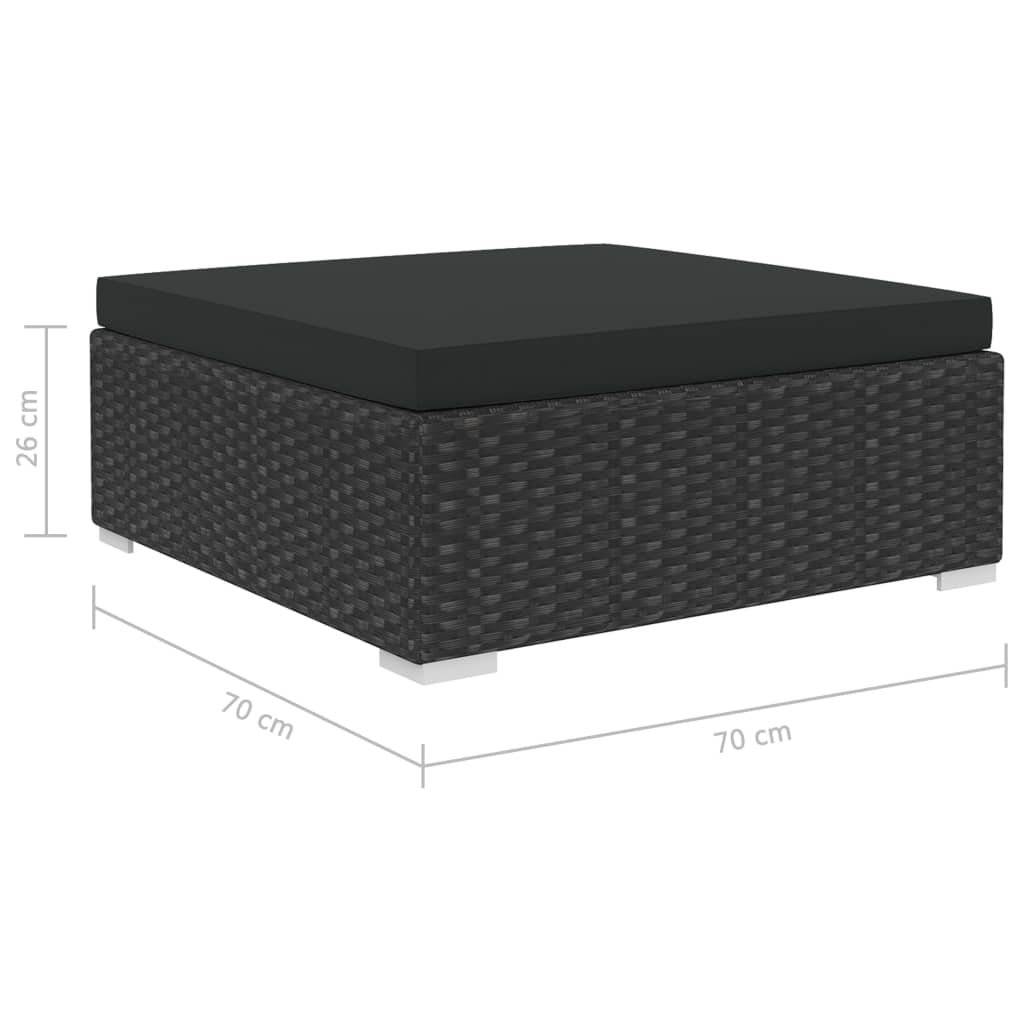 9 Piece Garden Lounge Set with Cushions Poly Rattan Black 9