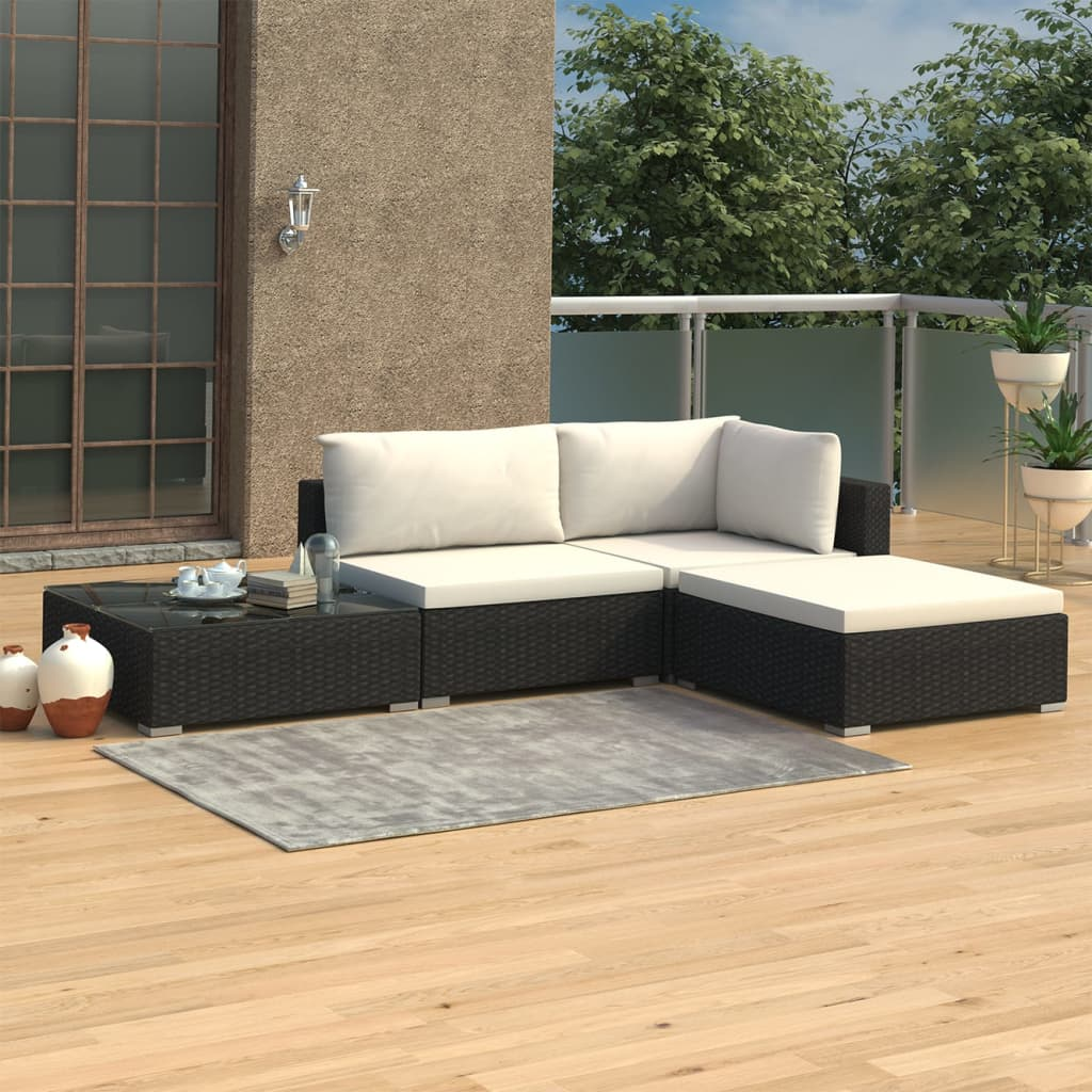 4 Piece Garden Lounge Set with Cushions Poly Rattan Black 1