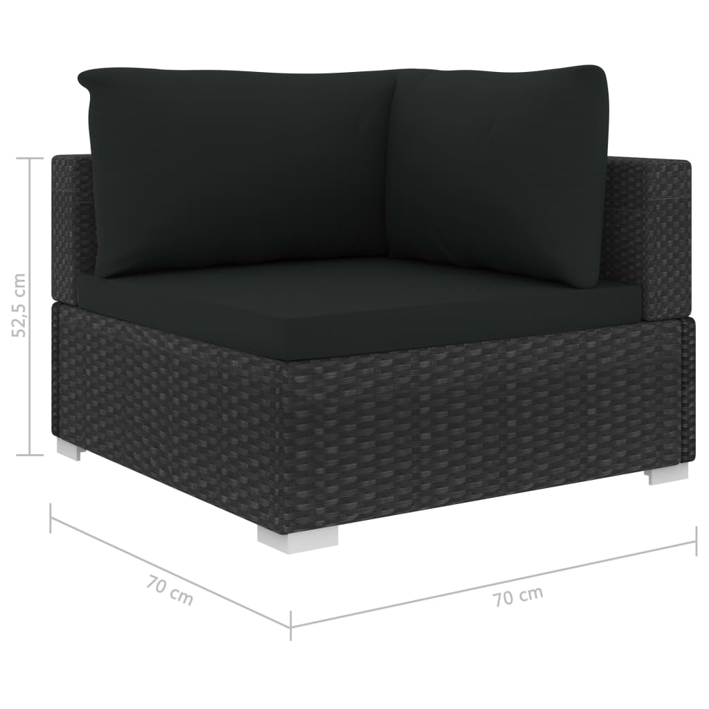 4 Piece Garden Lounge Set with Cushions Poly Rattan Black 8