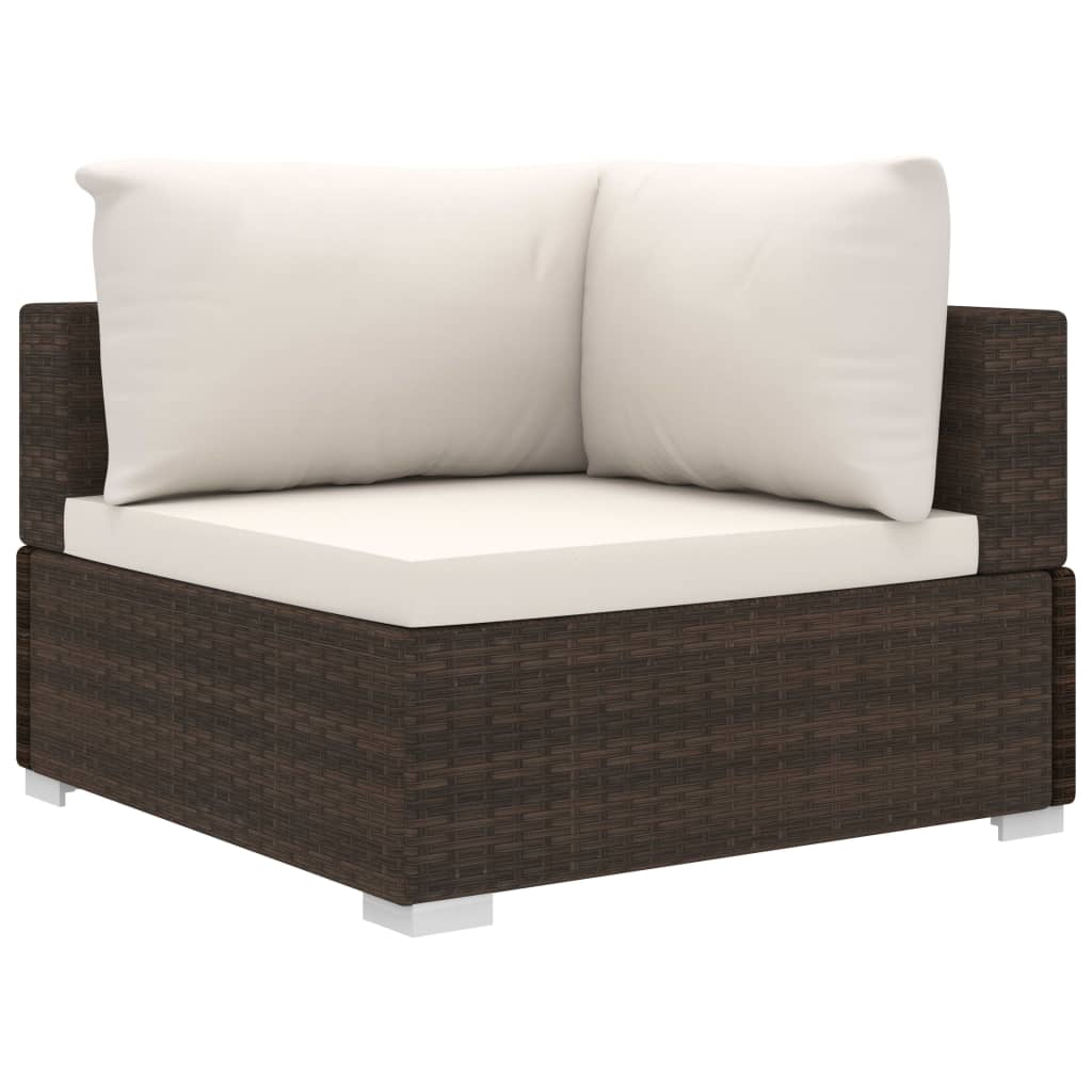 5 Piece Garden Lounge Set with Cushions Poly Rattan Brown 4