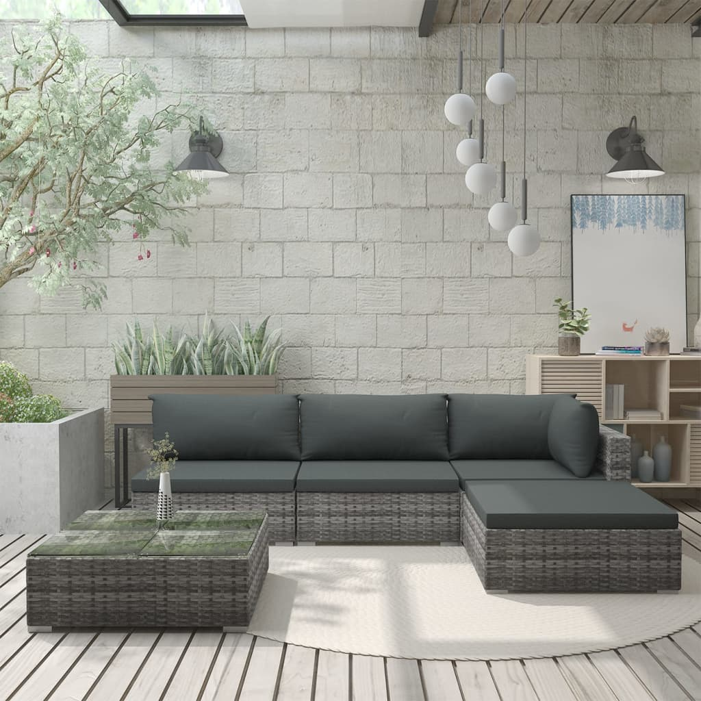 5 Piece Garden Lounge Set with Cushions Poly Rattan Grey 1