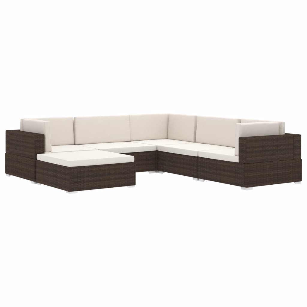 Sectional Middle Seat 1 pc with Cushions Poly Rattan Black 3