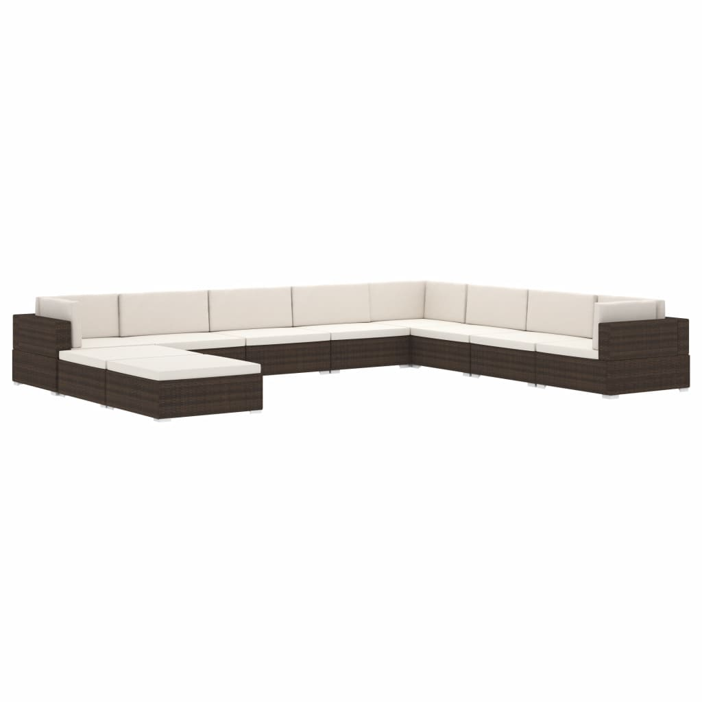 Sectional Middle Seat 1 pc with Cushions Poly Rattan Black 8
