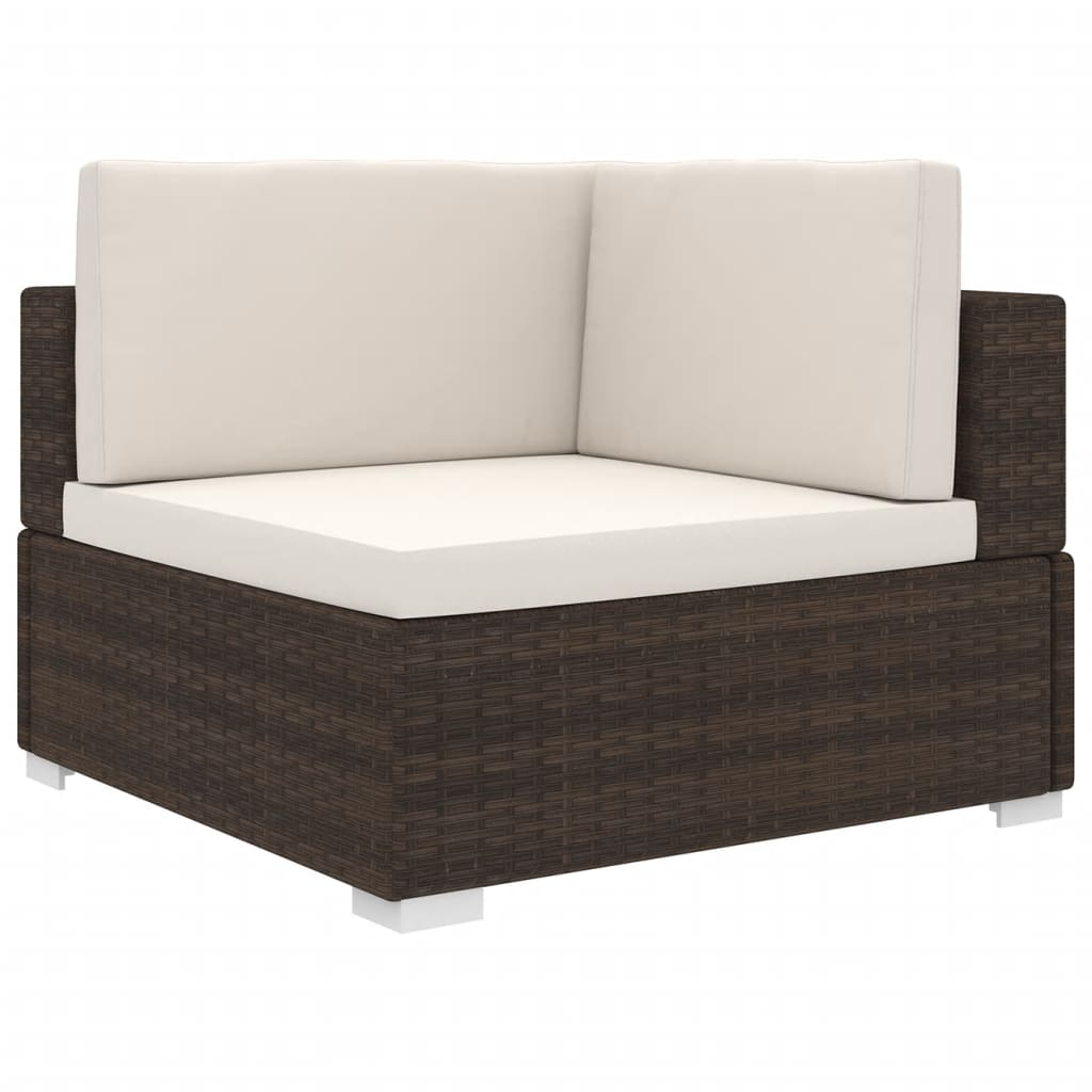 Sectional Corner Chair 1 pc with Cushions Poly Rattan Brown 1