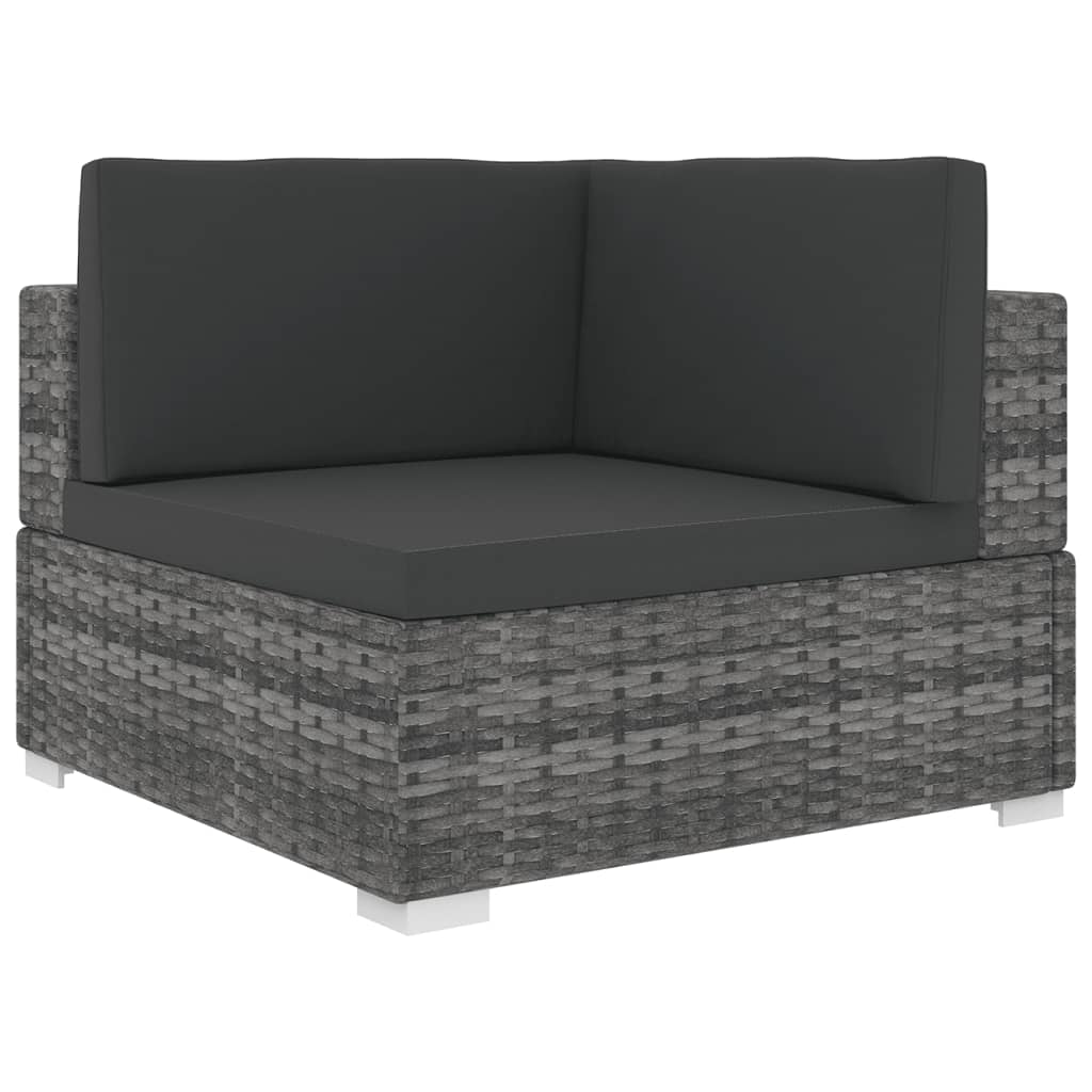 Sectional Corner Chair 1 pc with Cushions Poly Rattan Grey 1