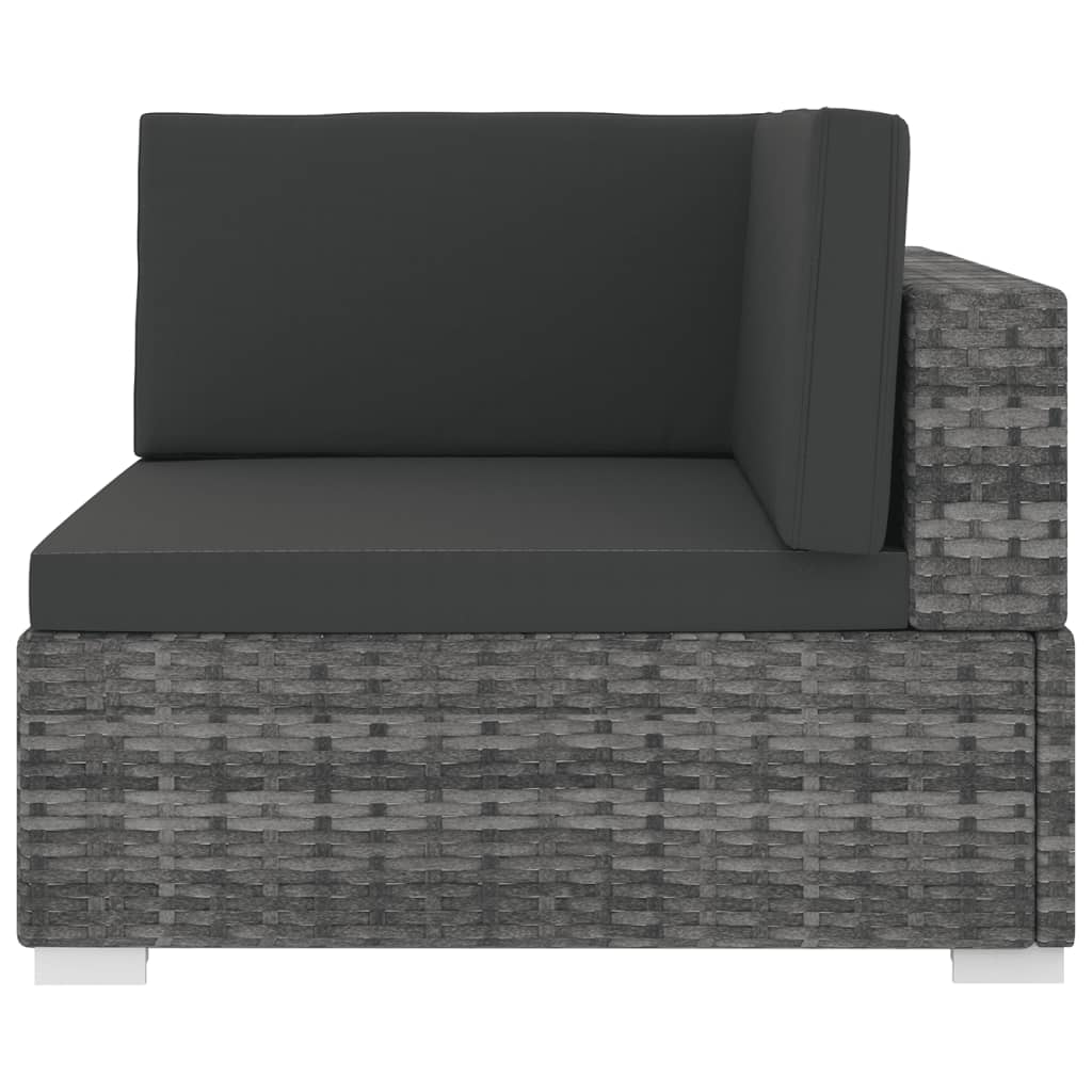 Sectional Corner Chair 1 pc with Cushions Poly Rattan Grey 3