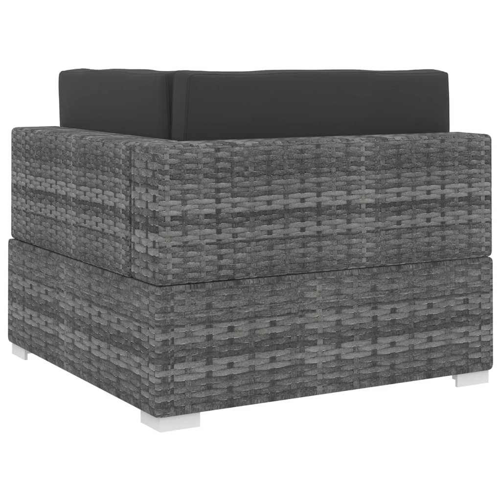 Sectional Corner Chair 1 pc with Cushions Poly Rattan Grey 4