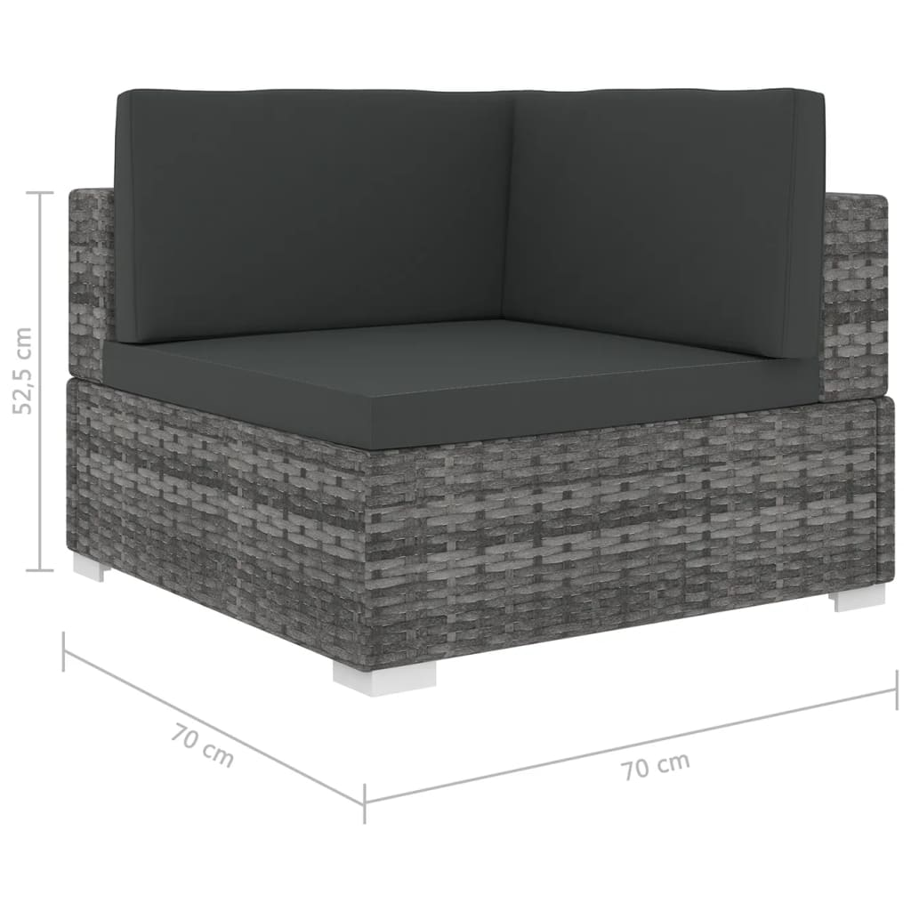Sectional Corner Chair 1 pc with Cushions Poly Rattan Grey 5