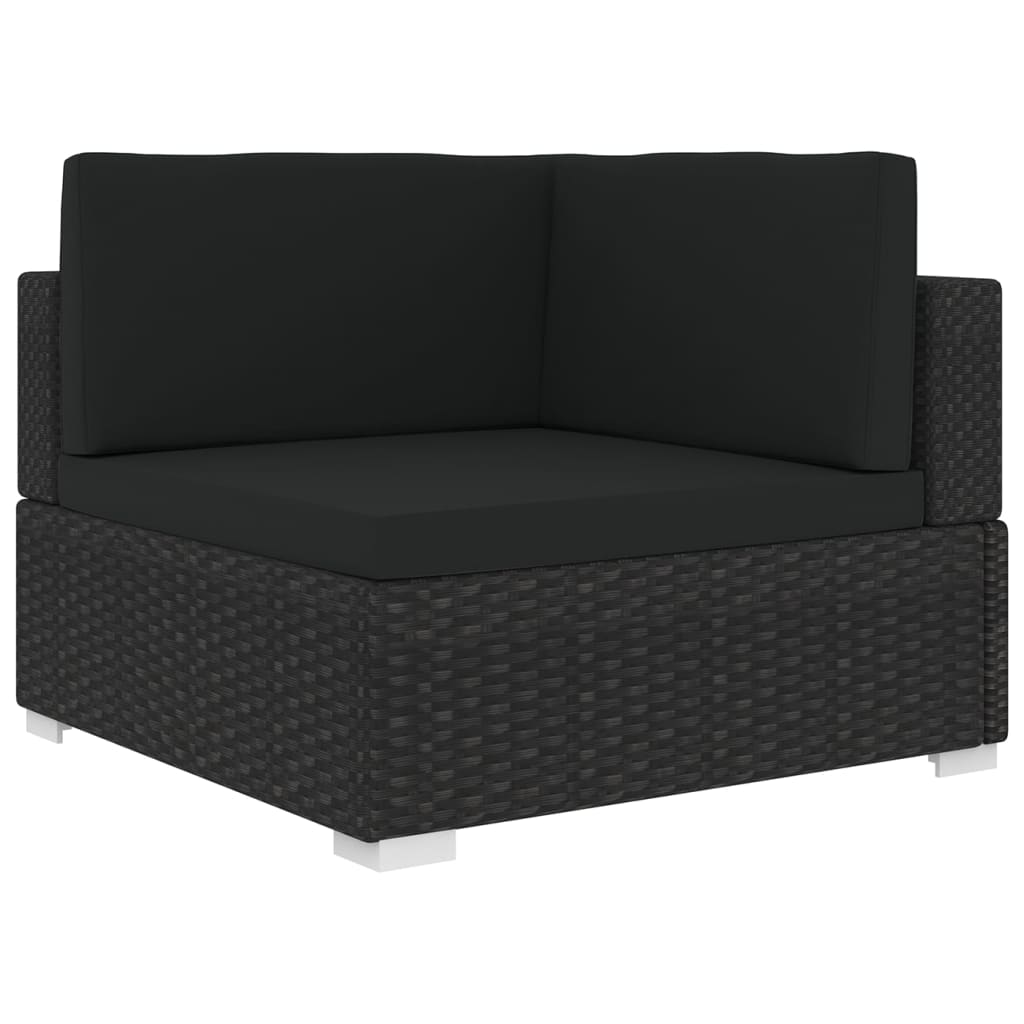 Sectional Corner Chair 1 pc with Cushions Poly Rattan Black 1
