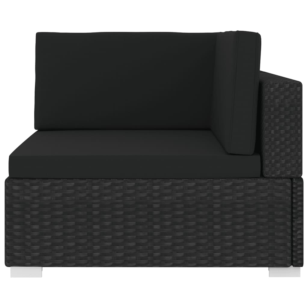 Sectional Corner Chair 1 pc with Cushions Poly Rattan Black 3