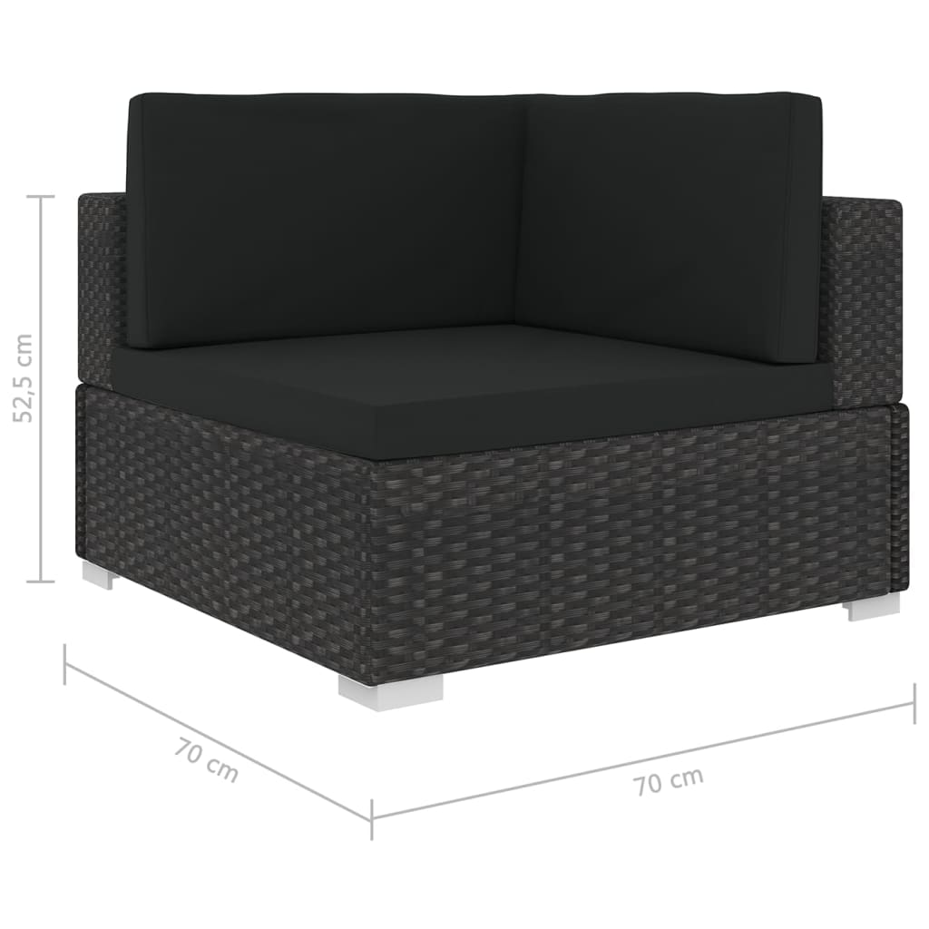 Sectional Corner Chair 1 pc with Cushions Poly Rattan Black 5