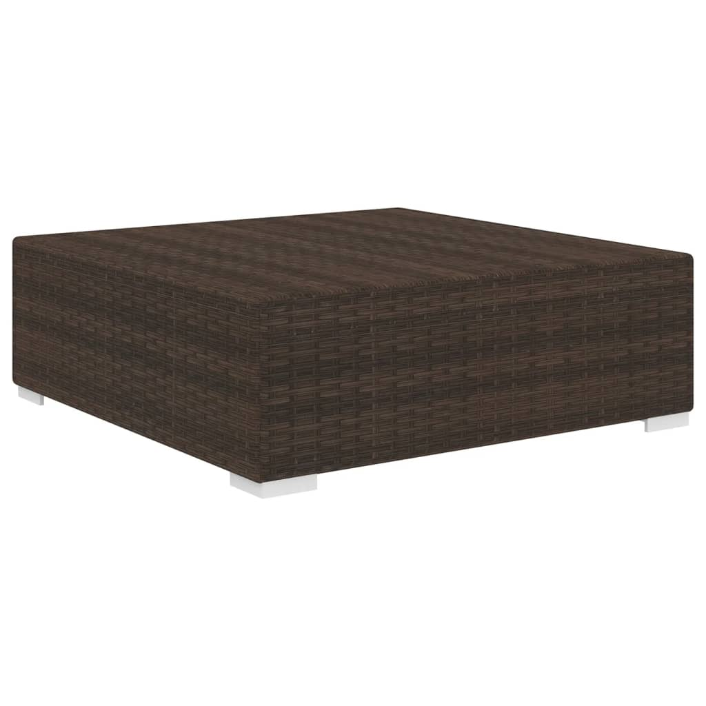 Sectional Footrest 1 pc with Cushion Poly Rattan Brown 2
