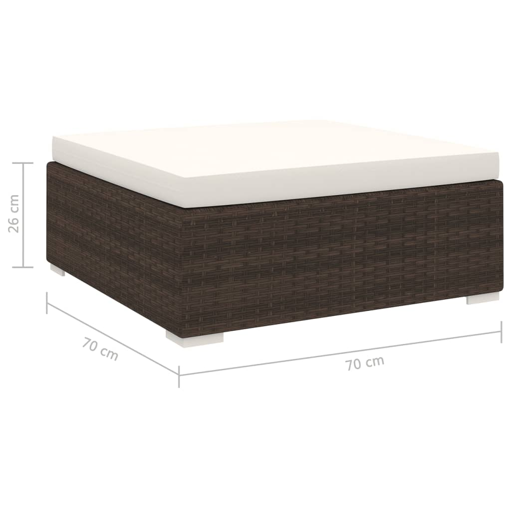Sectional Footrest 1 pc with Cushion Poly Rattan Brown 4