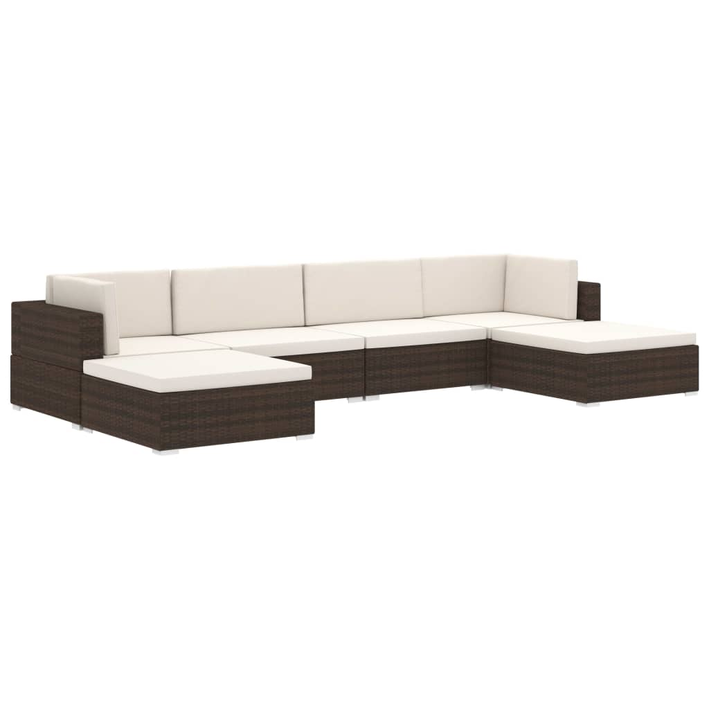 Sectional Footrest 1 pc with Cushion Poly Rattan Brown 5