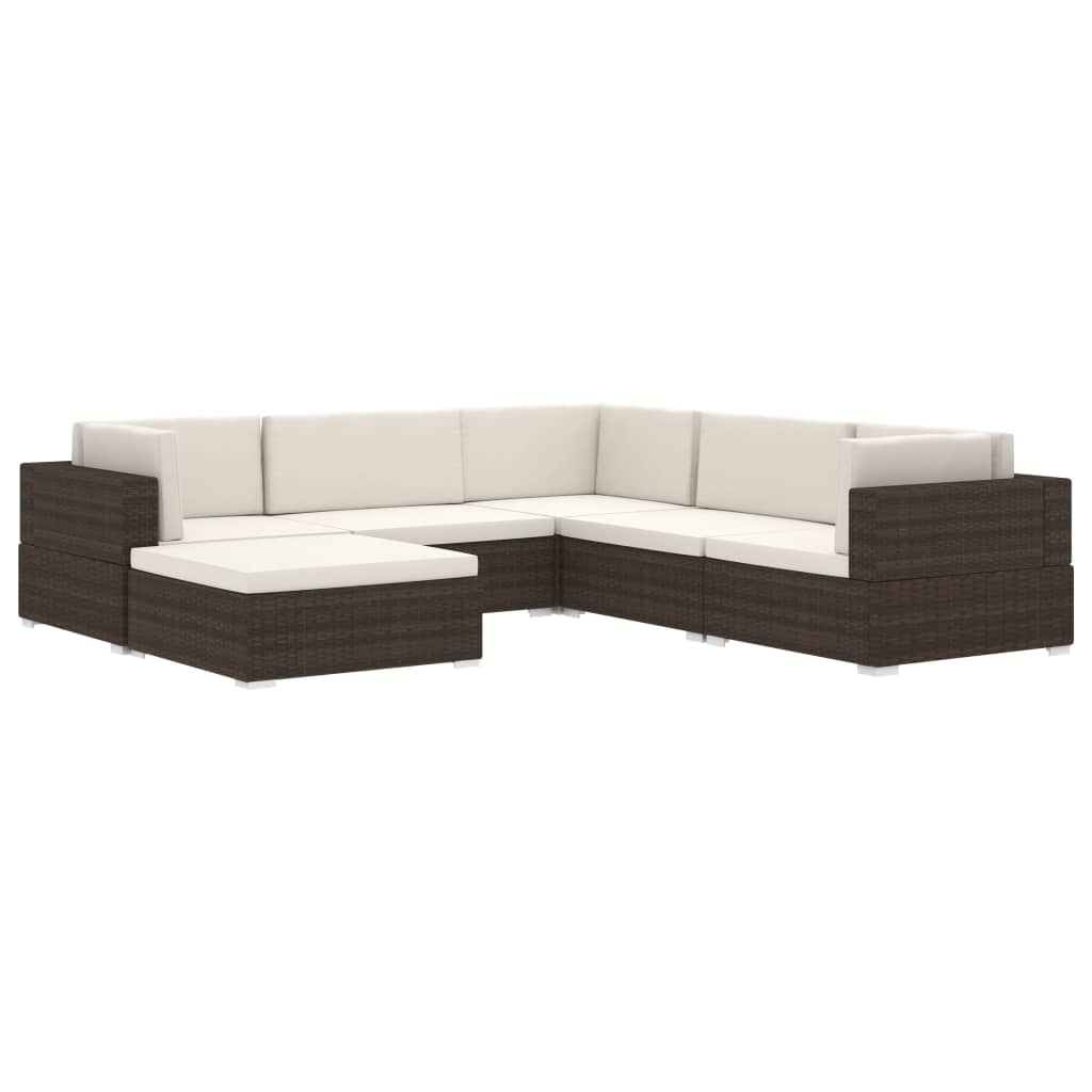 Sectional Footrest 1 pc with Cushion Poly Rattan Brown 6
