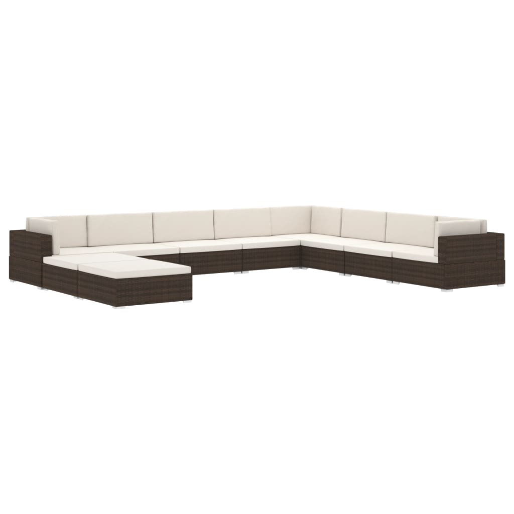 Sectional Footrest 1 pc with Cushion Poly Rattan Brown 7