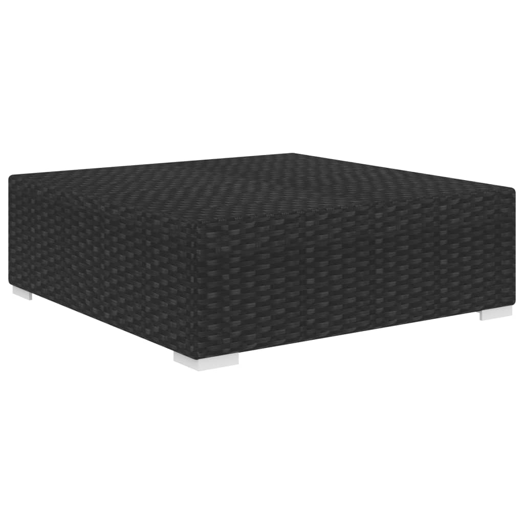 Sectional Footrest 1 pc with Cushion Poly Rattan Black 2