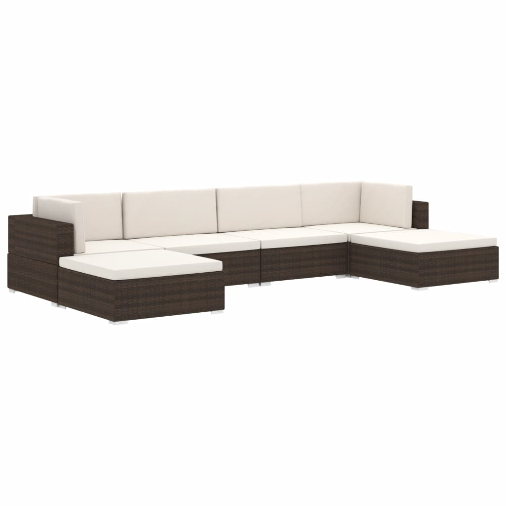 Sectional Footrest 1 pc with Cushion Poly Rattan Black 5