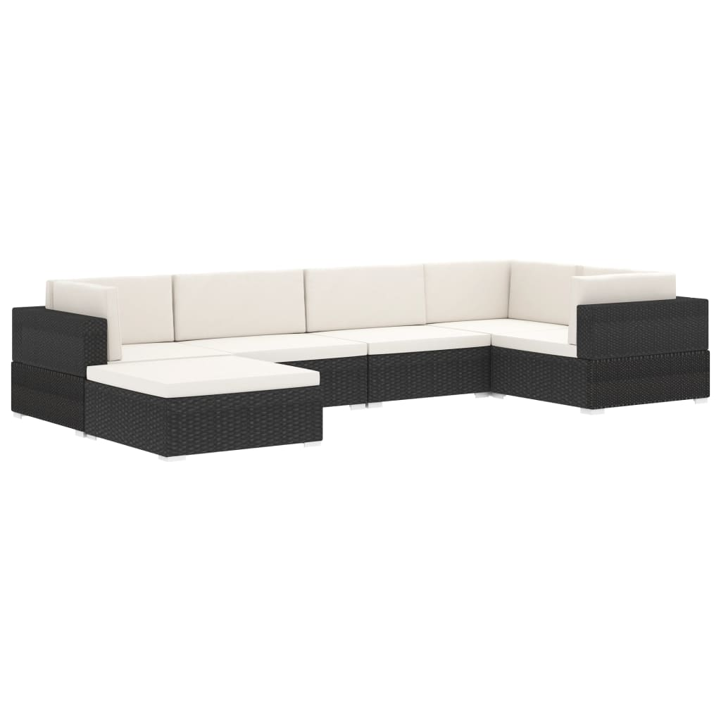 Sectional Footrest 1 pc with Cushion Poly Rattan Black 7