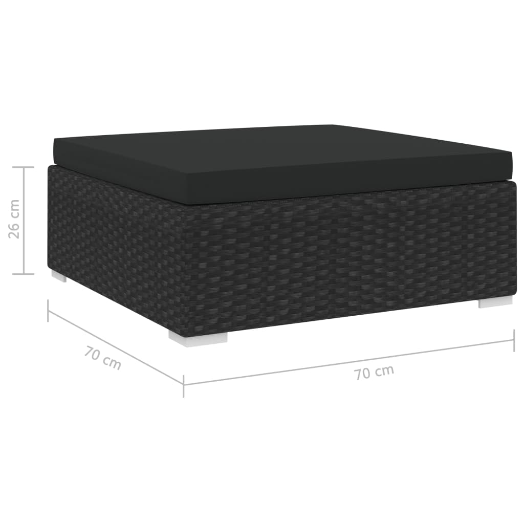 Sectional Footrest 1 pc with Cushion Poly Rattan Black 4