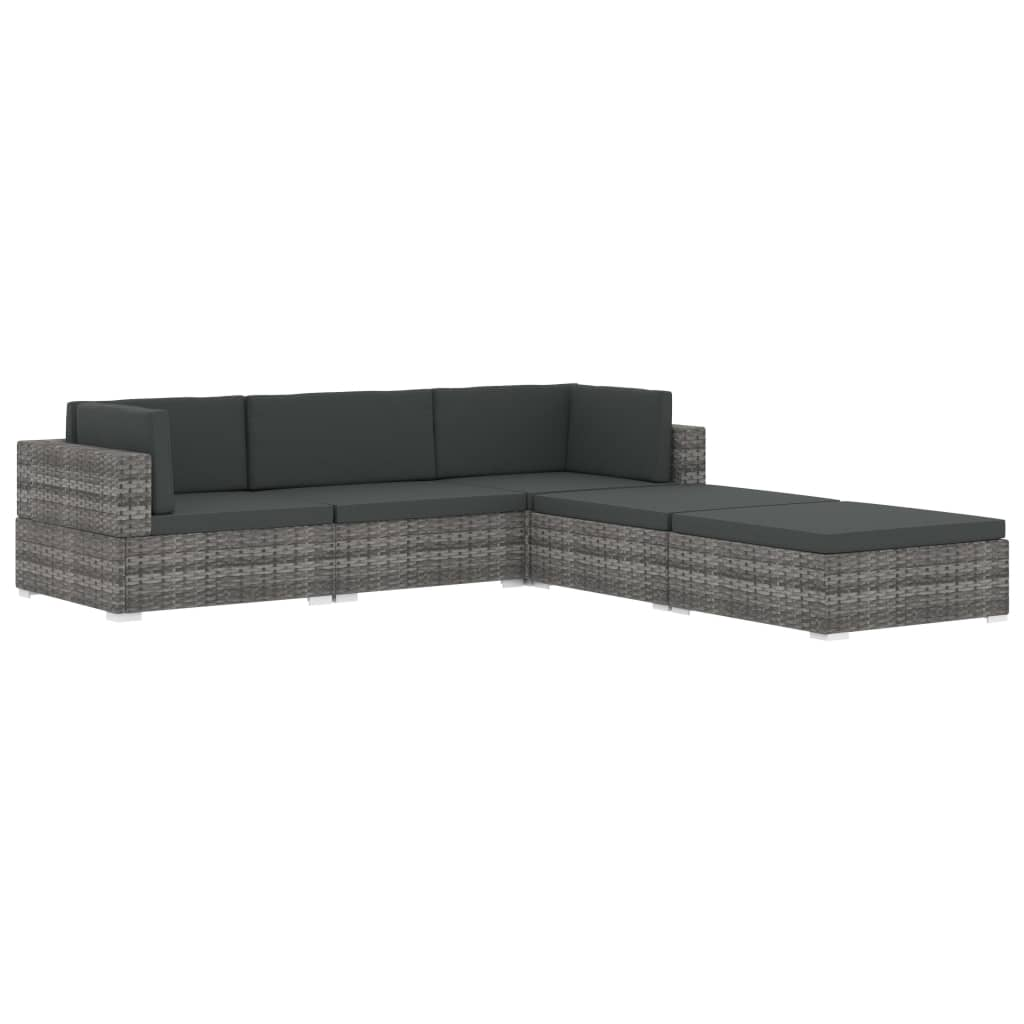 Sectional Footrest 1 pc with Cushion Poly Rattan Black 6