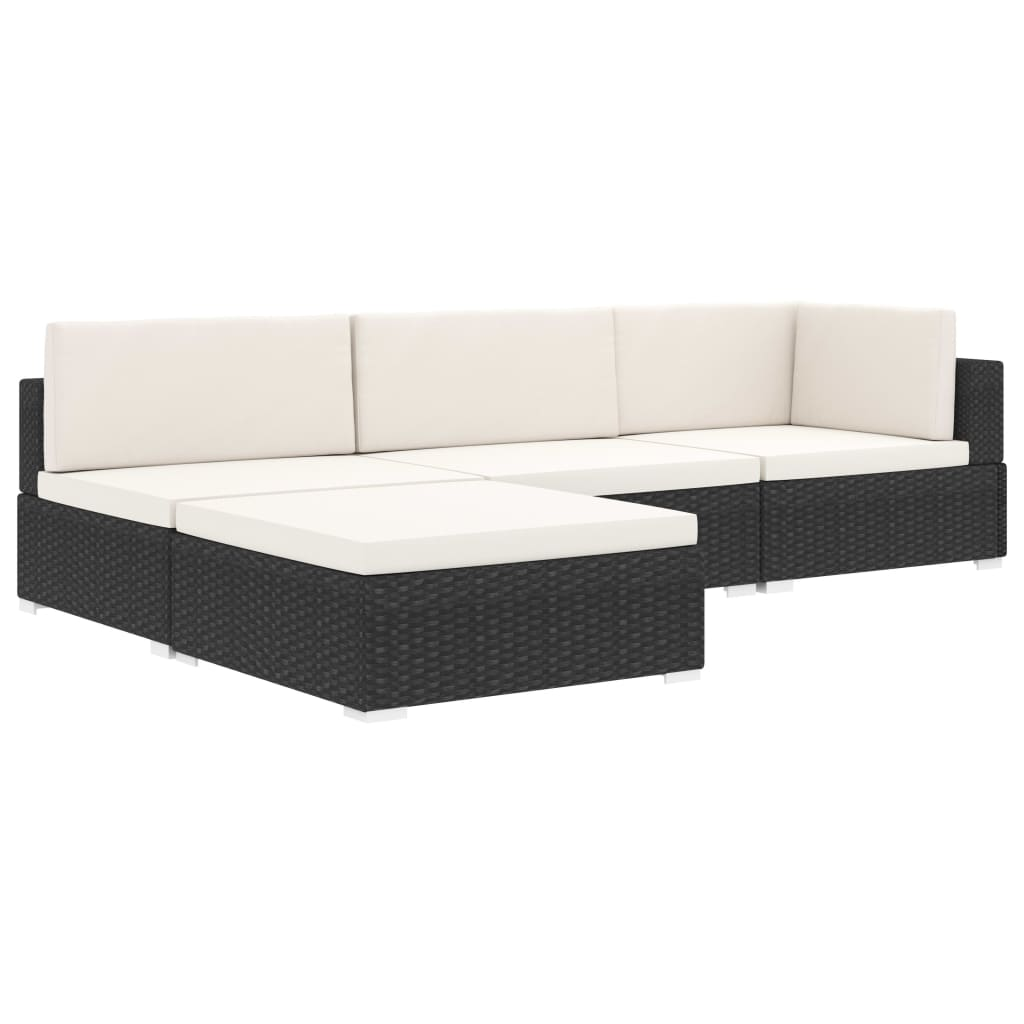 Sectional Footrest 1 pc with Cushion Poly Rattan Black 8