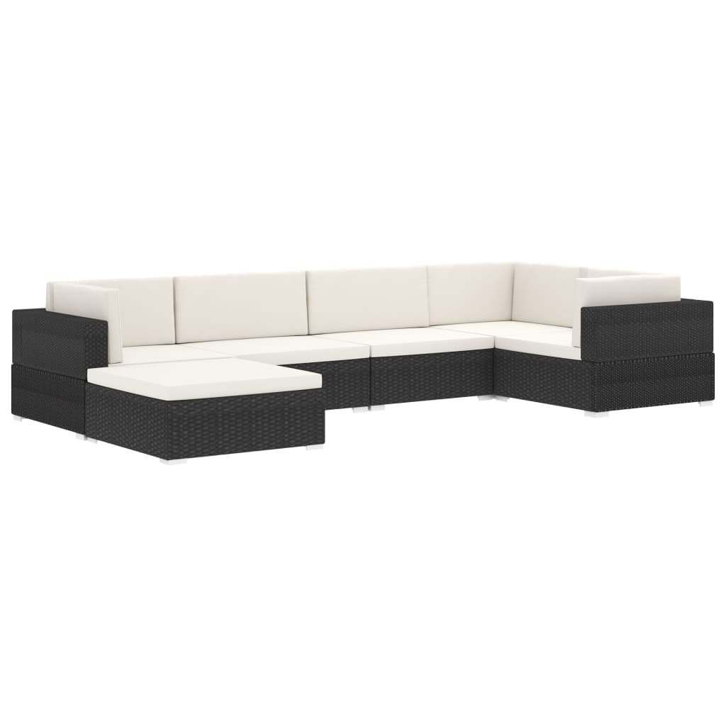 Sectional Footrest 1 pc with Cushion Poly Rattan Black 10