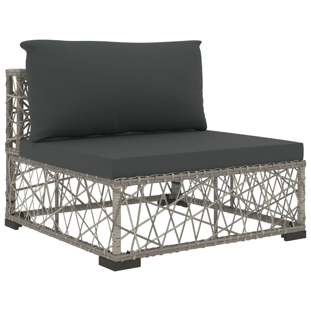 6 Piece Garden Lounge Set with Cushions Poly Rattan Grey 5