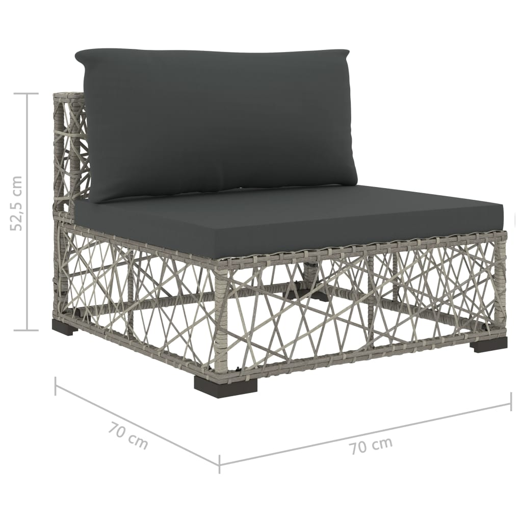 6 Piece Garden Lounge Set with Cushions Poly Rattan Grey 9