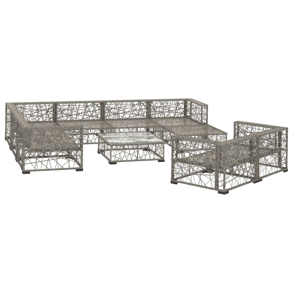 10 Piece Garden Lounge Set with Cushions Poly Rattan Grey 3