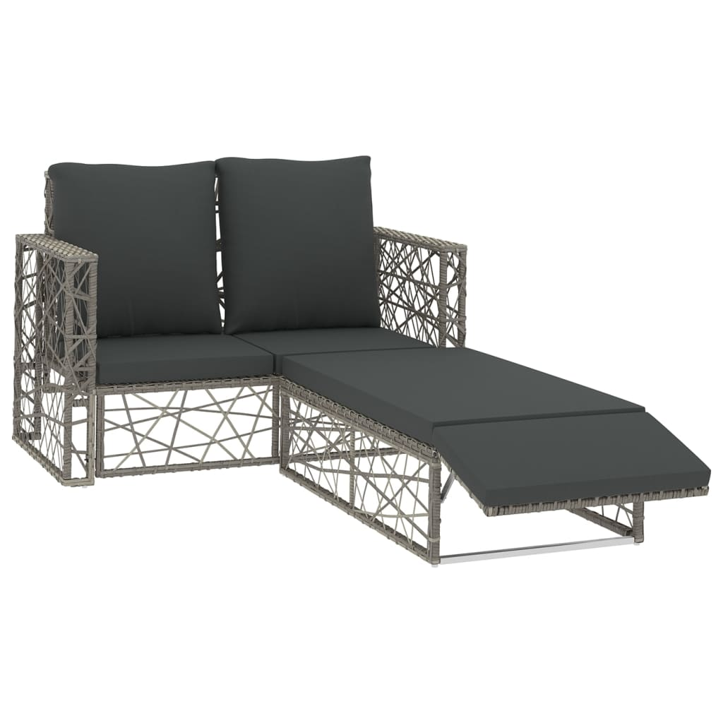 2 Piece Garden Lounge Set with Cushions Poly Rattan Grey 1