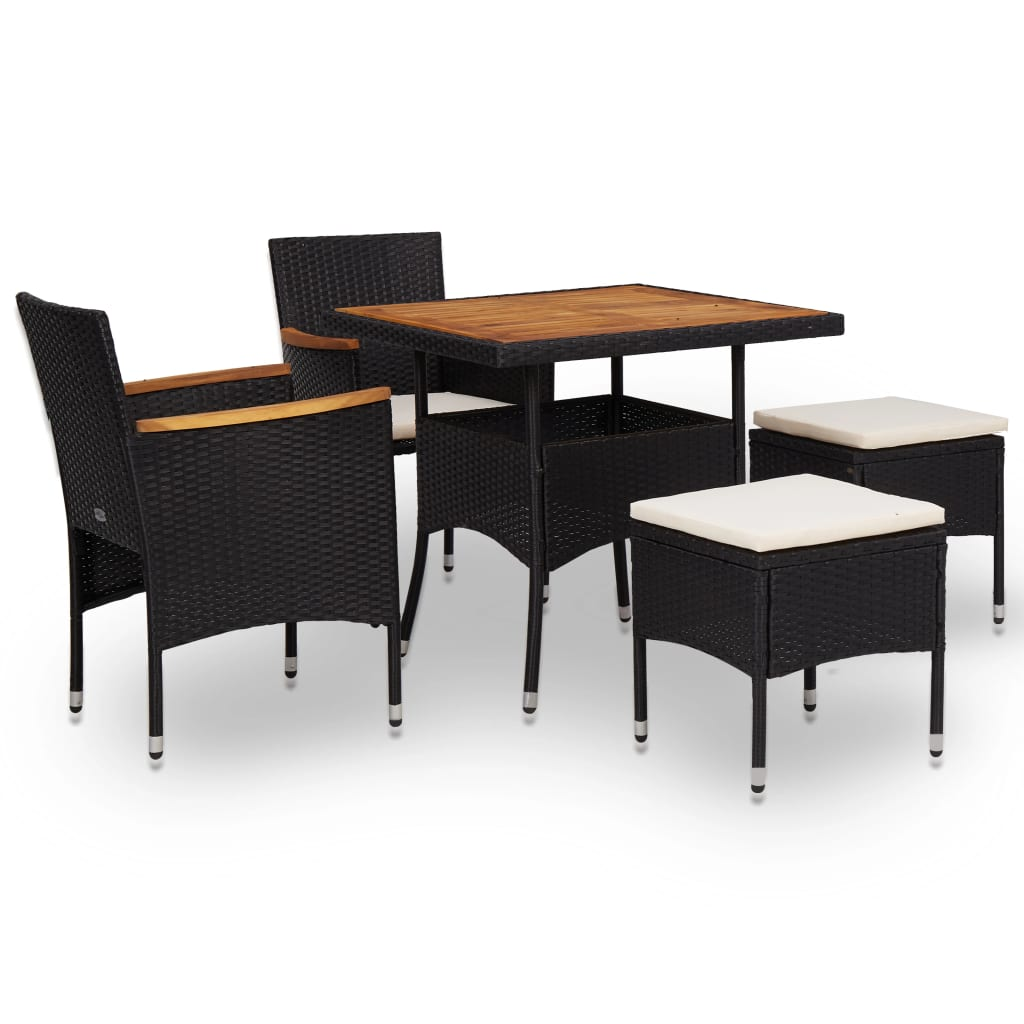 5 Piece Outdoor Dining Set Black Poly Rattan and Acacia Wood 1