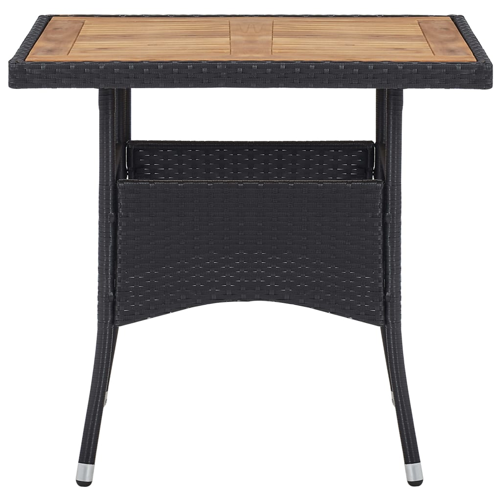 Outdoor Dining Table Black Poly Rattan and Solid Acacia Wood 2